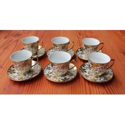 12 Piece Vintage Autumn Leaf Long Rui  Porcelain Espresso Size Cups and Saucers