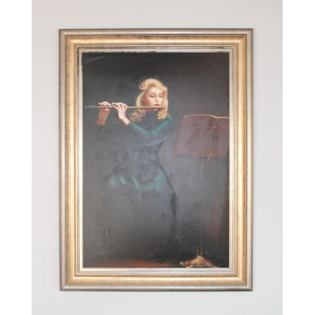 Large Vintage Painting of Woman Playing the Flute