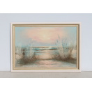 Vintage Framed Oil Painting of Beach and Sea at Sunset painted and signed by H. Duncan