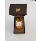 Vintage Boxed Swiss Girard Perregaux 1970s Quartz Date Dress Watch Gold Plated