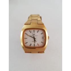 Vintage Boxed Swiss Girard Perregaux 1970s Quartz Date Dress Watch Gold Plated
