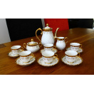 17 Piece Vintage Bone China Tea Set with Gold Pattern and Flowers