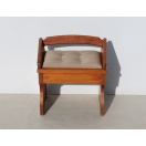 Pine Dressing Table Stool with New Upholstery