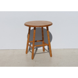 Round Pine Side Table with...