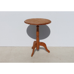 Round Pine Wine Table with...