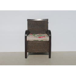 Wood and Rattan Armchair